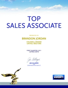 Brandon Jordan 2011 first quarter top listing agent