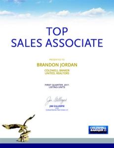 Brandon Jordan 2011 first quarter top listing agent
