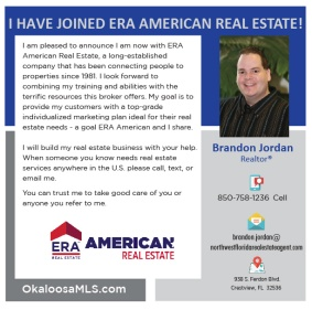 Brandon Jordan top selling Crestview FL Realtor now with ERA